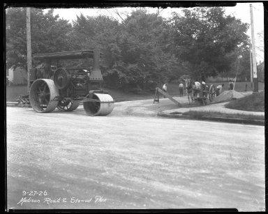 Street Improvement Photographs -- Box 40, Folder 01 (Madison Road) -- negative, 1926-09-27