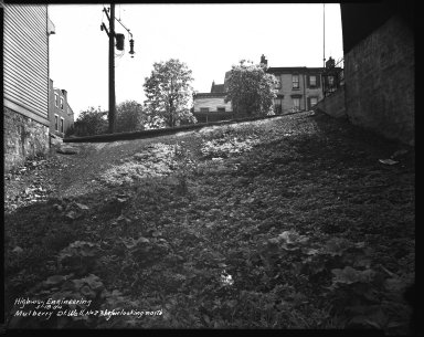 Street Improvement Photographs -- Box 42, Folder 09 (Mulberry Street (wall)) -- negative, 1944-05-18