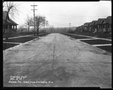 Street Improvement Photographs -- Box 42, Folder 13 (Nansen Street) -- negative, 1929-11-18