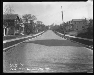 Street Improvement Photographs -- Box 43, Folder 14 (Pembrook Avenue) -- negative, 1929-11-09