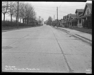 Street Improvement Photographs -- Box 43, Folder 39 (Rapid Run Road) -- negative, 1929-03-27