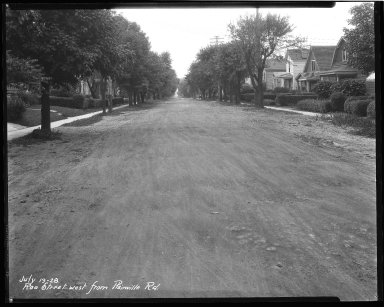 Street Improvement Photographs -- Box 44, Folder 14 (Roe Street) -- negative, 1928-07-19