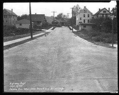 Street Improvement Photographs -- Box 44, Folder 32 (Saxon Avenue) -- negative, 1929-09-16