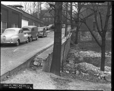 Street Improvement Photographs -- Box 44, Folder 54 (Shea Place (wall)) -- negative, 1942-10-19