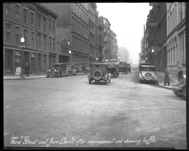 Street Improvement Photographs -- Box 46, Folder 03 (Third Street) -- negative, 1927-01-03