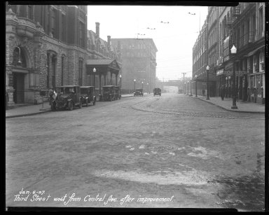 Street Improvement Photographs -- Box 46, Folder 03 (Third Street) -- negative, 1927-01-06