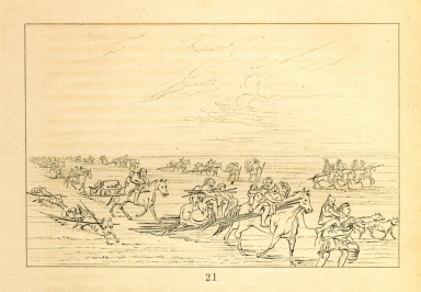 [Band of Sioux moving camp, Letters and Notes on the Manners, Customs, and Condition of the North American Indians.]