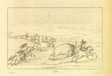 [Buffalo chase with bows and lances, Letters and Notes on the Manners, Customs, and Condition of the North American Indians.]