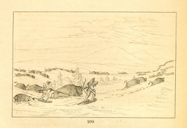 [Buffalo chase in snowdrifts, Indians pursuing on snowshoes, Letters and Notes on the Manners, Customs, and Condition of the North American Indians.]