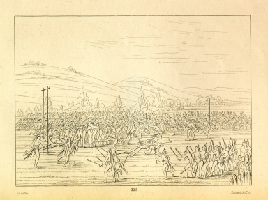 [Ball-play of the Choctaw - ball down, Letters and Notes on the Manners, Customs, and Condition of the North American Indians.]