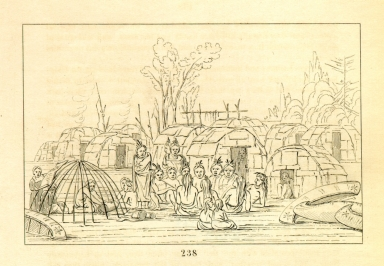 [Ojibwa village and dog feast at the Falls of St. Anthony, Letters and Notes on the Manners, Customs, and Condition of the North American Indians.]