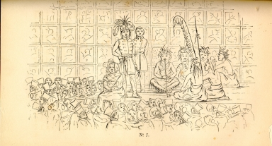 "[Adventures of the Ojibbeway and Ioway Indians in England, France, and Belgium., ""The Jolly Fat Dame"" on Stage with the Ojibwa During a Performance in Egyptian Hall]"