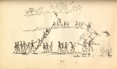 "[Adventures of the Ojibbeway and Ioway Indians in England, France, and Belgium., ""Heaven and Hell"": Pencil Sketch by Tobacco (Sah-mah)]"