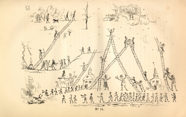 "[Adventures of the Ojibbeway and Ioway Indians in England, France, and Belgium., ""White Man's Paradise and the Six Different Modes of Getting to It"": Pencil Sketch by Commanding General or Fast Dancer]"