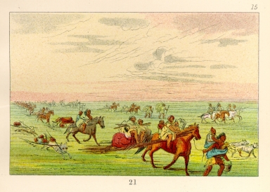 [The Manners, Customs, and Condition of the North American Indians., Band of Sioux moving camp]
