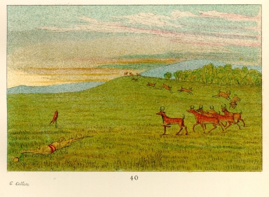 [The Manners, Customs, and Condition of the North American Indians., Antelope shooting, decoyed up]