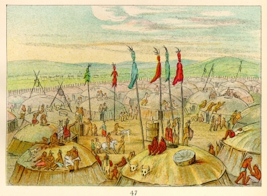 [The Manners, Customs, and Condition of the North American Indians., Bird's-eye view of the Mandan village, 1800 miles above St. Louis]