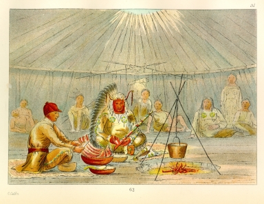 [The Manners, Customs, and Condition of the North American Indians., Catlin feasted by Four Bears]