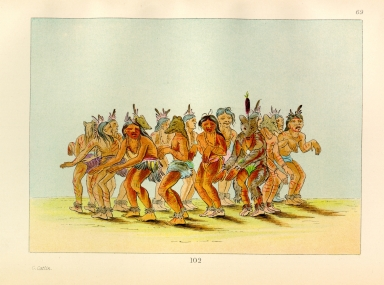 [The Manners, Customs, and Condition of the North American Indians., Bear Dance, preparing for a bear hunt]