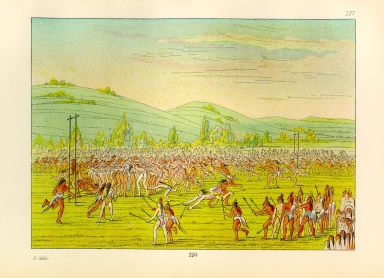 [The Manners, Customs, and Condition of the North American Indians., Ball-play of the Choctaw - ball down]