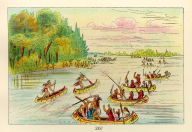 [The Manners, Customs, and Condition of the North American Indians., Canoe race near Sault Ste. Marie]