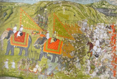 Army in Battle Array with Two Elephants