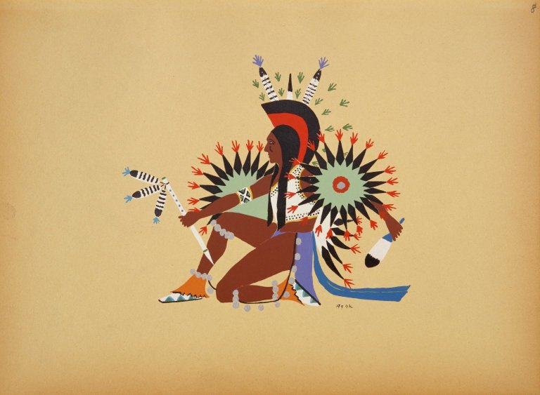 [Kiowa Indian Art: watercolor paintings in color by the Indians of Oklahoma, Asah Dancing]
