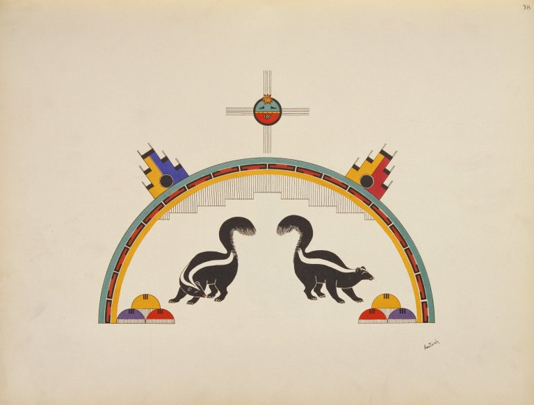 [Pueblo Indian painting; 50 reproductions of watercolor paintings by Indian artists of the New Mexican pueblos of San Ildefonso and Sia, Skunks]