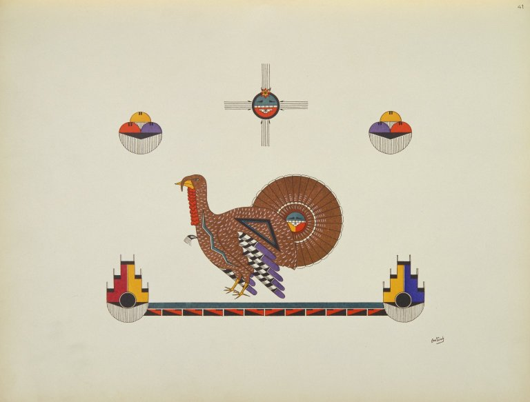 [Pueblo Indian painting; 50 reproductions of watercolor paintings by Indian artists of the New Mexican pueblos of San Ildefonso and Sia, Turkey]