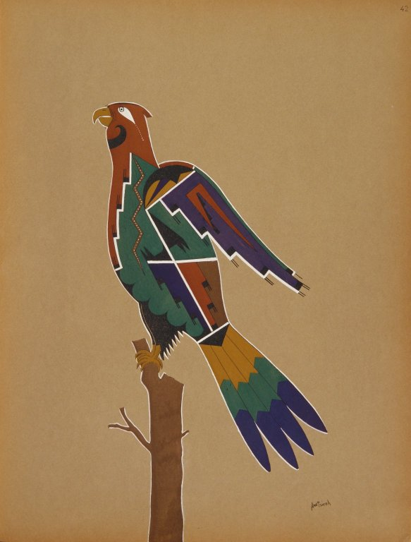 [Pueblo Indian painting; 50 reproductions of watercolor paintings by Indian artists of the New Mexican pueblos of San Ildefonso and Sia, Hawk]