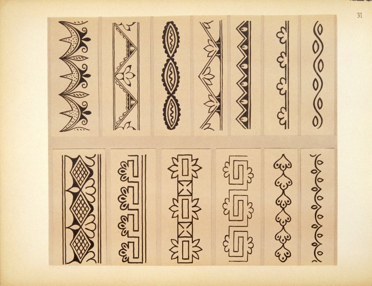 [Pueblo Indian Pottery; 50 reproductions in color from specimens in the famous collection of the Indian arts fund, Typical Designs from Antique Pottery]
