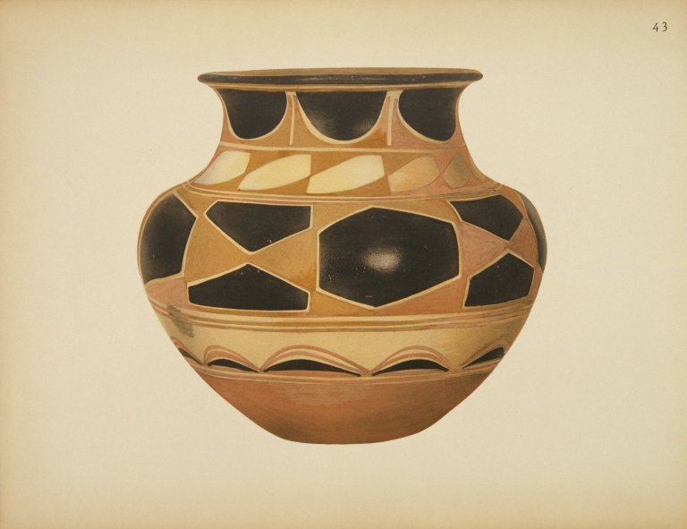 [Pueblo Indian Pottery; 50 reproductions in color from specimens in the famous collection of the Indian arts fund, Water Jar]