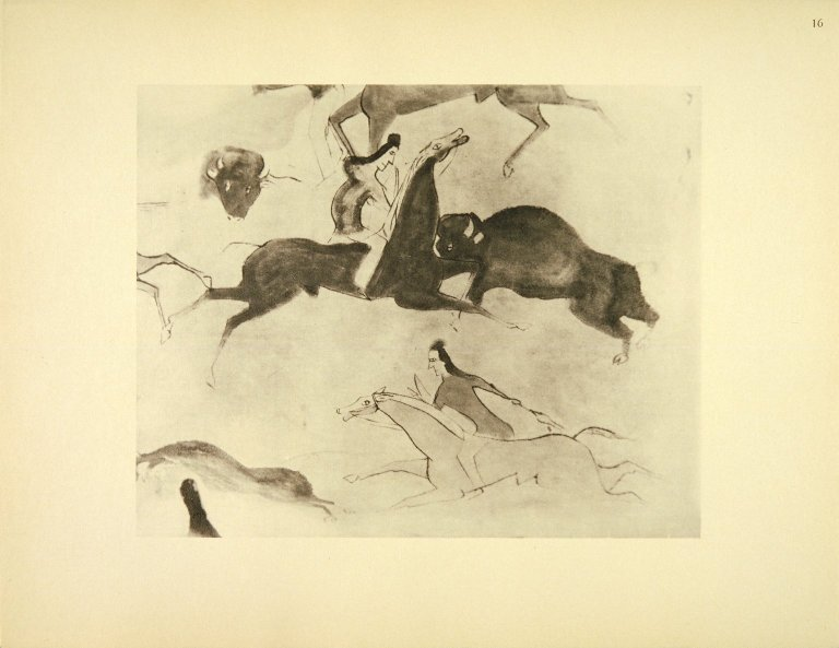 [Sioux Indian painting, Buffalo Hunt - Chase - Detail (approximately the size of the original)]