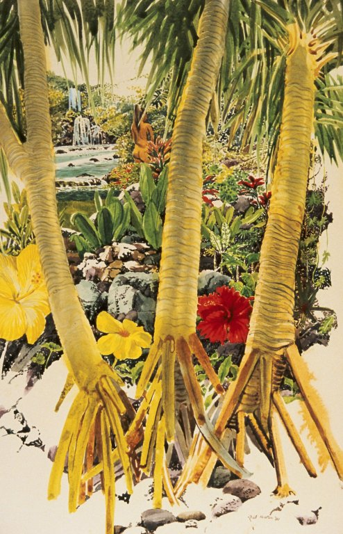 Tropical Landscape with Palms and Flowers