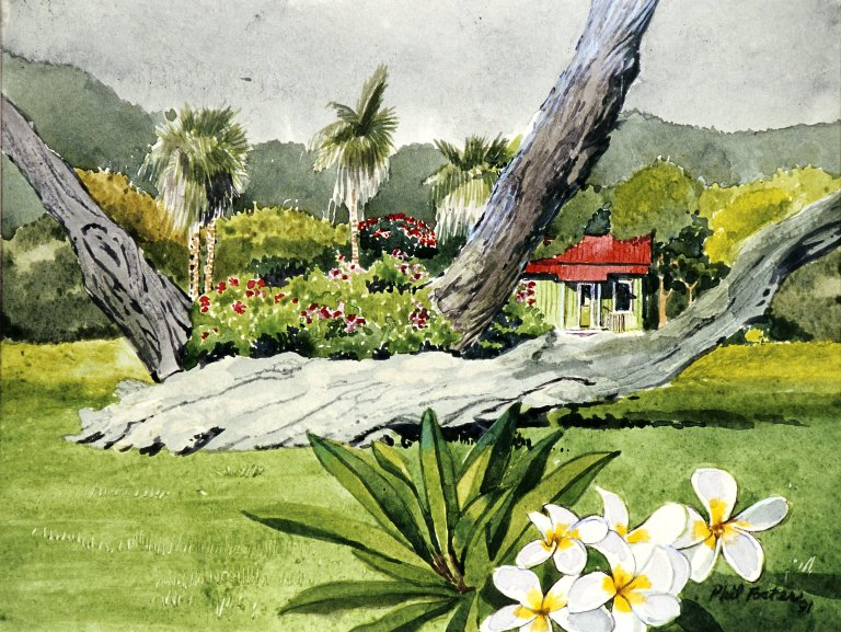 Landscape with Palms and Small House