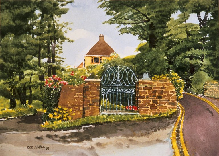 Driveway to Yellow House with Old Gate
