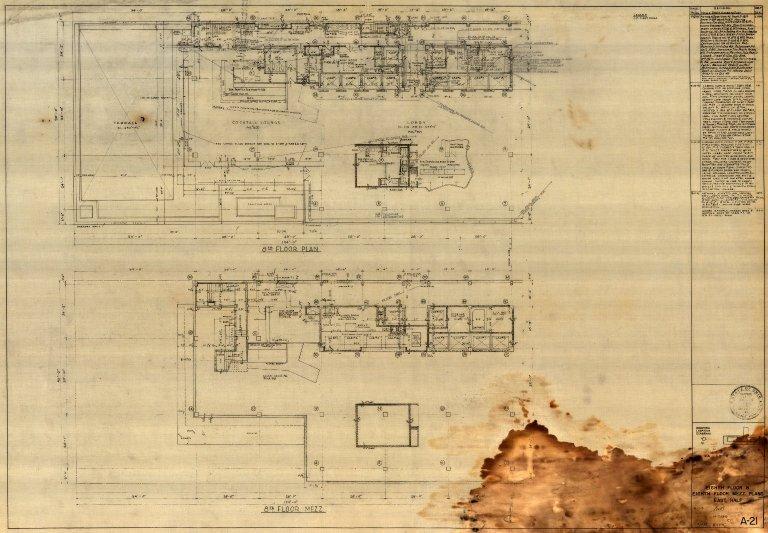 Eighth Floor & Eighth Floor Mezzanine Plans East Half (A 21)
