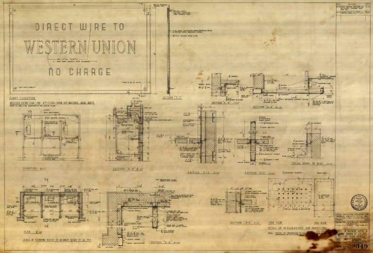 Details of Telephone Booths in Basement Arcade at Col. No. 5 & Western Union Sign