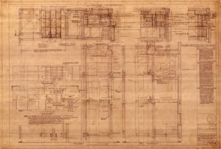 Plans & Sections of Shafts from Col. 48 to 50- 7th to 9th Floors (A 323)