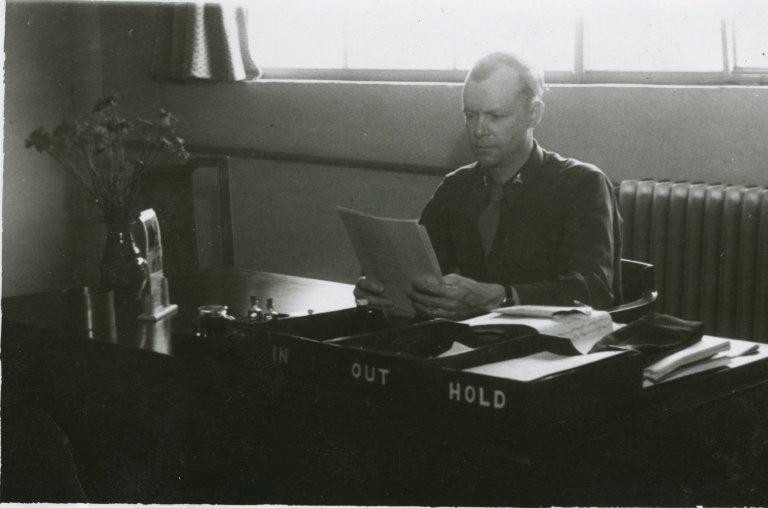 Jean Stevenson at His Desk