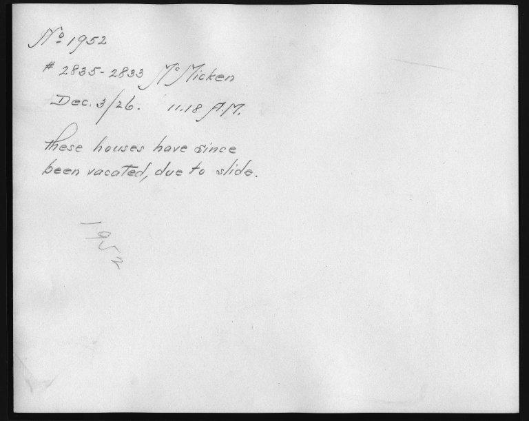 Rapid Transit Photographs -- Box 12, Folder 28 (December 3, 1926) -- print, 1926-12-03, 11:18 A.M. (back of photograph)