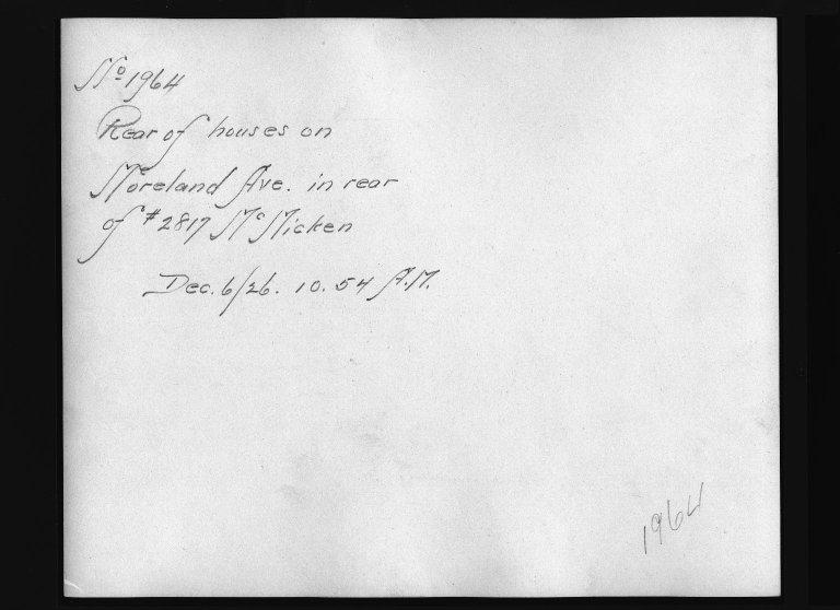 Rapid Transit Photographs -- Box 12, Folder 29 (December 3, 1926 - December 6, 1926) -- print, 1926-12-06, 10:54 A.M. (back of photograph)
