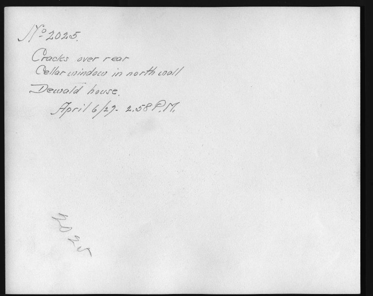 Rapid Transit Photographs -- Box 12, Folder 34 (April 6, 1927) -- print, 1927-04-06, 2:58 P.M. (back of photograph)