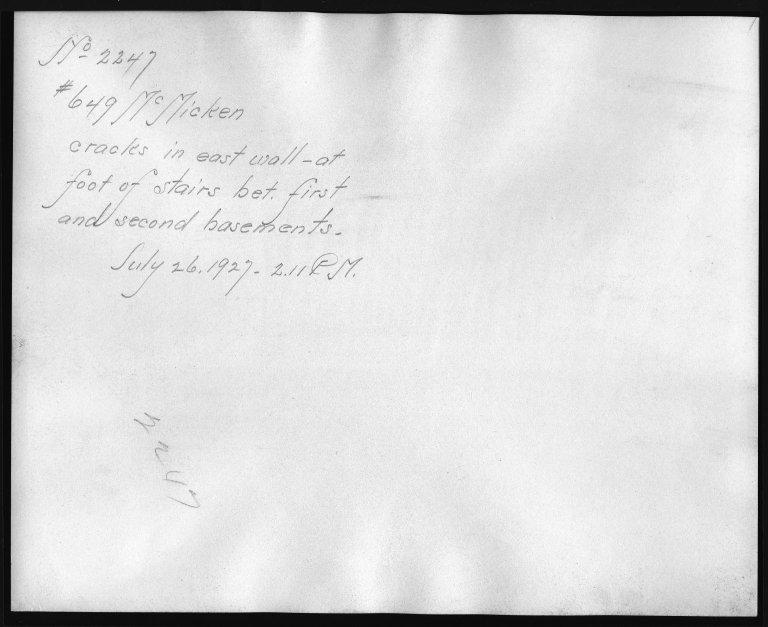 Rapid Transit Photographs -- Box 12, Folder 55 (July 26, 1927 - July 29, 1927) -- print, 1927-07-26, 2:11 P.M. (back of photograph)