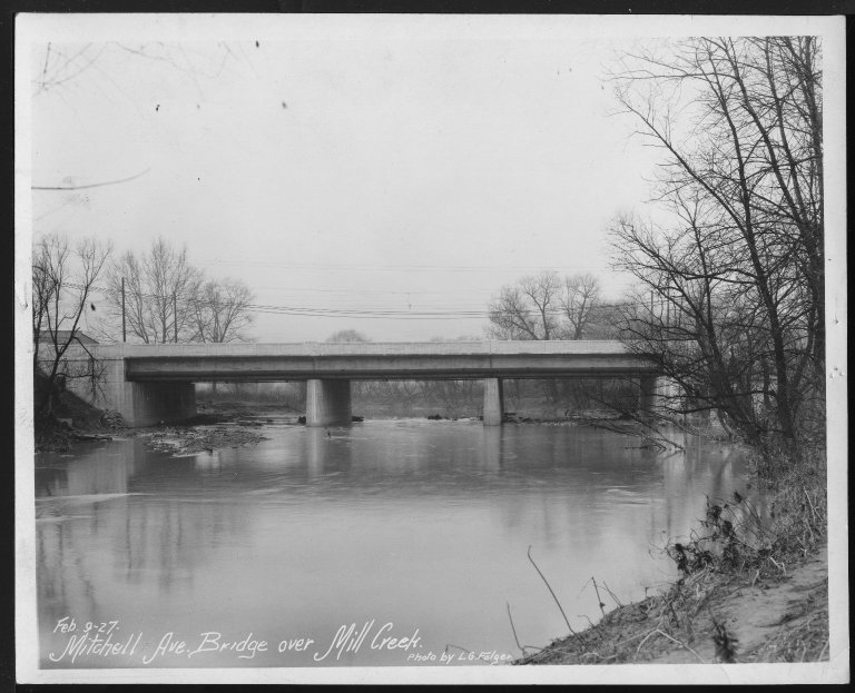 Street Improvement Photographs -- Box 27, Folder 01 (Mitchell Avenue Bridge) -- print, 1927-02-09