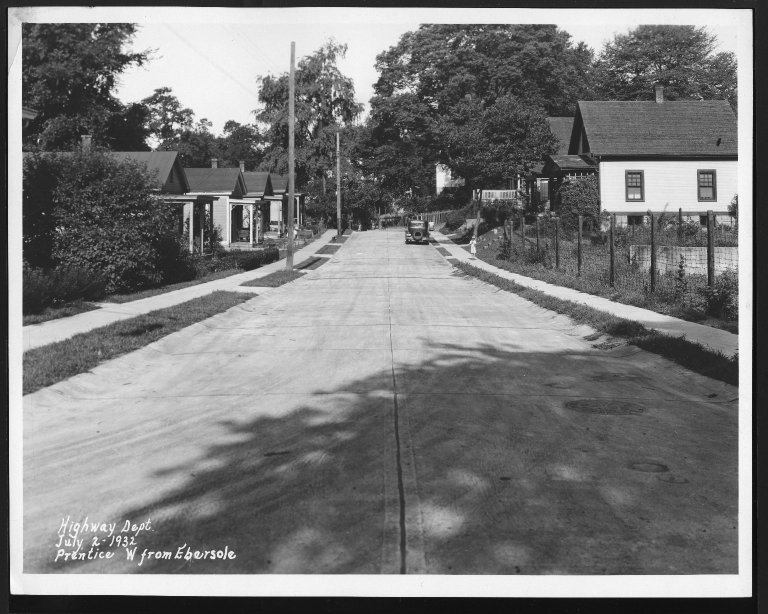 Street Improvement Photographs -- Box 28, Folder 02 (Prentice Street) -- print, 1932-07-02