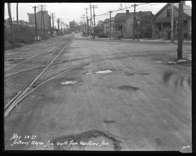 Street Improvement Photographs -- Box 31, Folder 04 (Anthony Wayne Avenue) -- negative, 1927-05-23