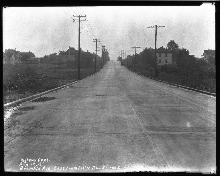 Street Improvement Photographs -- Box 32, Folder 26 (Bramble Avenue) -- negative, 1929-08-10