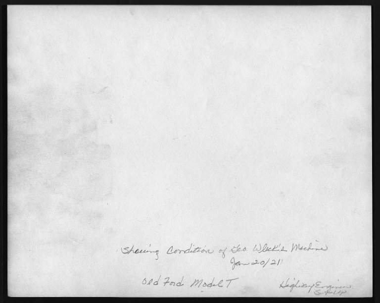 Miscellaneous Photographs -- Box 53, Folder 32 (Model T. Ford 1921) -- print, 1921-01-20 (back of photograph)