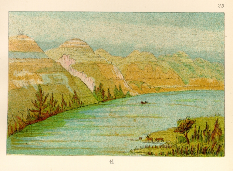 [The Manners, Customs, and Condition of the North American Indians., Magnificent clay bluffs, 1800 miles above St. Louis]